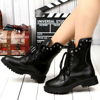 Women's Rivet Leather Ankle Martin Combat Boots Vintage Fur Lined Casual Shoes