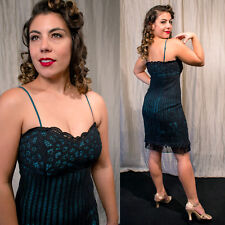 BETSEY JOHNSON 2 Black Battenburg Crochet Lace Dress over Forest green Pinup