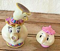 Lot of 2 Vintage Disney Beauty & The Beast Mrs Potts Chip PVC Figures Rare 90's