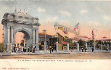 New York City postcard Coney Island Entrance to Steeplechase Park