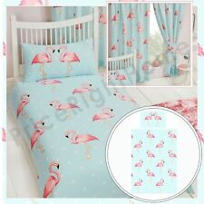 "Fifi Flamingo Single Duvet Cover Set Kids Girls + Matching Curtains 66"" x 54"""