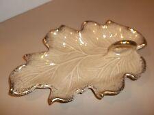Vintage California Original Bowl Beige & Gilt Trim Leaf Shaped & Handle EUC
