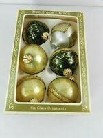 VINTAGE CHRISTMAS ORNAMENTS FIVE DESIGNER CHOICE WITH STENCILS w/ ORIGINAL BOX
