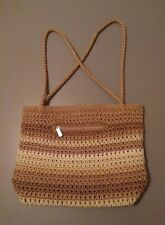 The SAK Crochet Shoulder Bag Purse, Shades of Brown, Made in Indonesia