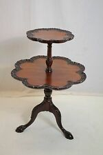 Vintage Antique Mahogany Chippendale Clawfoot Dumbwaiter Pie Crust Table