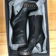 93966f69ccaa New Miu Miu Black Leather Gold Studded Boots -  665 Size -40.5 MIU   10.5