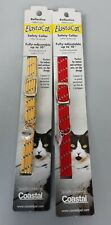 2-Elasta Cat Reflective Safety Stretch Collars W/ Reflective Charm Red & Yellow