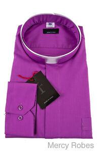 Mens Premium Roman Collar Clergy Shirt (Church Purple), Tonsure, Long Sleeve