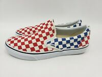 VANS CLASSIC SLIP ON CHECKERBOARD RED WHITE BLUE 721278 MENS SIZE 9.5 WOMENS 11