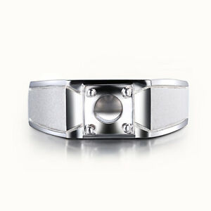Solid 18k White Gold Prong Setting Round 6.5mm Ring Generous Men's Fine Jewelry
