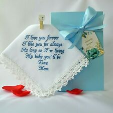 Wedding Handkerchief for Bride from Mom Something blue for Bride Wedding hanky