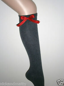 GREY KNEE HIGH SCHOOL,FASHION SOCKS WITH RED SATIN BOWS  Childrens/Adult Sizes