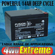 12 VOLT 14AH SEALED AGM BATTERY DEEP CYCLE SCOOTER UPS POWER SUPPLY 12AH BIKE