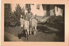 Antique Vintage Photograph Little Boy Riding on Donkey in Front Yard