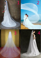 "extra long Cathedral MARIAGE NOCES VOILE + Peigne blanc ivoire 118 "" 196 "" 1-2"