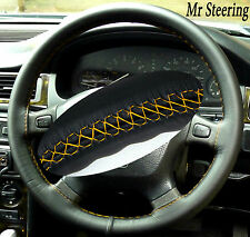 FOR LANDROVER DISCOVERY 89-10 BLACK LEATHER STEERING WHEEL COVER YELLOW STITCH