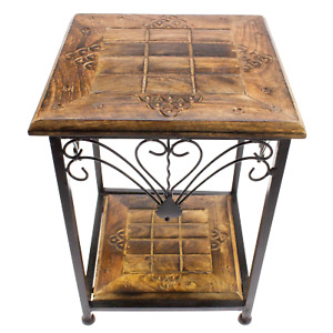 Wooden Side Table Handmade Two Tier Wood & Iron Square Nightstand - 38cm