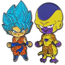 Dragon Ball Super SSGSS Blue Goku & Golden Frieza Metal Pins Set of 2 Official
