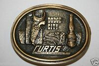 Vintage 1977 Curtis Machine Co Inc Dodge City Gear Drives Brass Belt Buckle