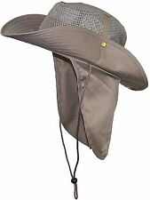 Tan Wide Brim Men Safari Outback Summer Hat With Neck Flap, Extra Large