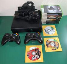 Microsoft Xbox 360 Slim S 4Gb Black Console w/Cords & Controller + Games, Tested