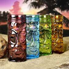 More details for coloured glass tiki mugs 400ml - set of 4 - gift boxed glass cocktail cups