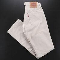 Vintage LEVI'S 501 MADE IN USA Beige Denim Regular Straight Jeans Mens W28 L31