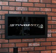 2014-2019 Corvette C7 Stingray Logo Framed Wall Hanging Mirror - Black