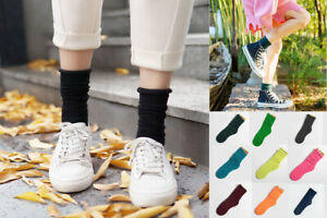 Warm Bright Candy Brushed Cotton Tube Long Ankle Slouch Socks Loose Top