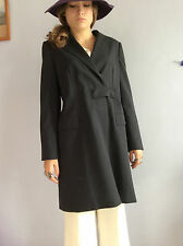 Paco Rabanne manteau noir en laine Paco Rabanne black wool coat reefer coat