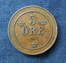 Munt Zweden/Sverige: 5 Öre 1901 in zeer fraai
