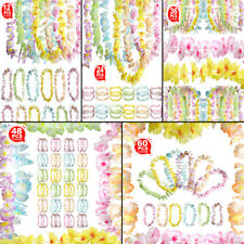 Hawaiian Multicolour Flower Garland Necklace Headband Fancy Set for Beach Party