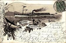 1895 Litho Gruss vom Rhein Dampfer Schiff HANSA ab Stempel Cöln (AK-Vorläufer)