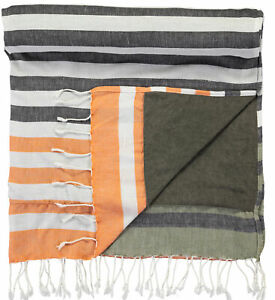 Barts Scarf Adda Towel Black Quick Drying Striped Fringes