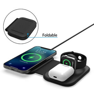 3In1 Qi Wireless Magnetic Charger Pad For iWatch Samsung S21+ S20+ iPhone 12Pro