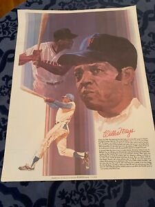 """Willie Mays 1970's Baseball Greats Coca-Cola 24 x 18"""" Poster New York Mets Mint"""
