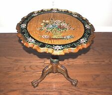 "Unique Russian Hand Painted W/Flowers Folding Whole Wood Table 24"" Diameter. EX."