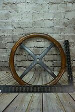 Antique Wood Steering Wheel Aluminum Spider Model T? Brass Era? Merkel?