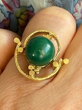 LARGE ,VINTAGE 14 K Ct GOLD MALACHITE RING UNUSUAL ! Pre owned EX CON Wt 9.95g