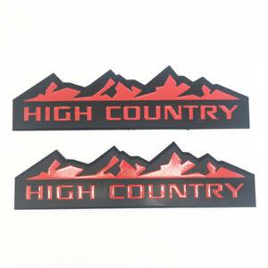 2PCS SET BLACK RED HIGH COUNTRY MOUNTAIN EMBLEM / LOGO FOR TRUNK HOOD DOOR