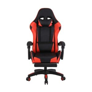 Gaming Chair Office Home Racing Leather Chair With Footrest Red Hidden Speaker