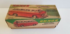 Vintage TIN AIRPORT LIMOUSINE FRICTION TOY CAR RED CHINA MF 992 in Box