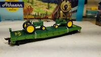 Athearn John Deere ~ HO flat car for train set,  model b tractor load - new