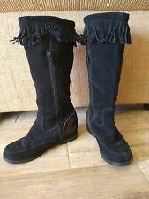Stylish Women's Sz 9M Snow genuine Black Suede Zipper up Fringe Boots