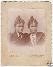 Identical Elaborate Hairdos - Two Women in Masculine Style Dress c. 1890s