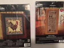 NEW Bucilla Plaid Lot of 2 Counted Cross Stitch Rooster Le Coq Dog Wisdom Sealed