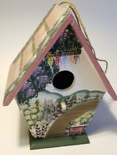 Beautiful Hand-painted Wooden Birdhouse w/Flowers Herb Garden Bird House Decor
