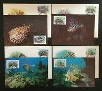 WWF.  Antigua & Barbuda.  Fish.  FDC & Maxi Card Set. 1987.   Mint. (WWF33)