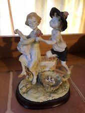 Giuseppe Armani Style Compodimonte Sculpture Italy Peasant Farm Girl & Boy Court