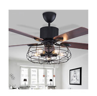 Industrial 52-Inch Ceiling Fan Semi Flush Mount Ceiling Light Fixture Vintage